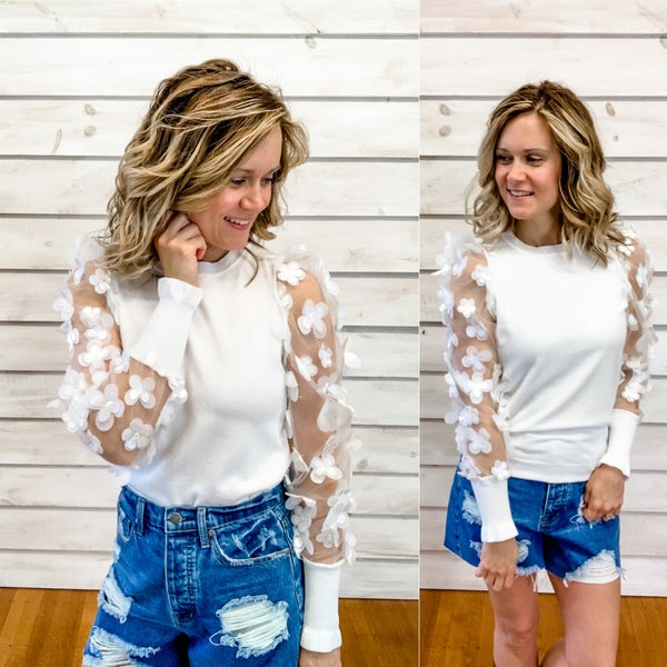 White Sheer Floral Sleeve Top