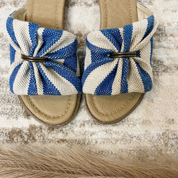 Navy and Tan Jute Slide On Sandal