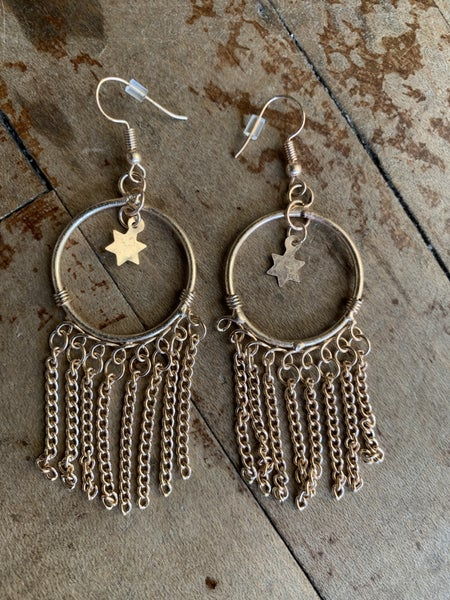 Gold Hoops with Charm Detail