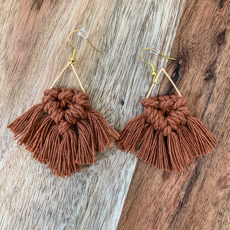 Rust Boho Small Macrame Earrings