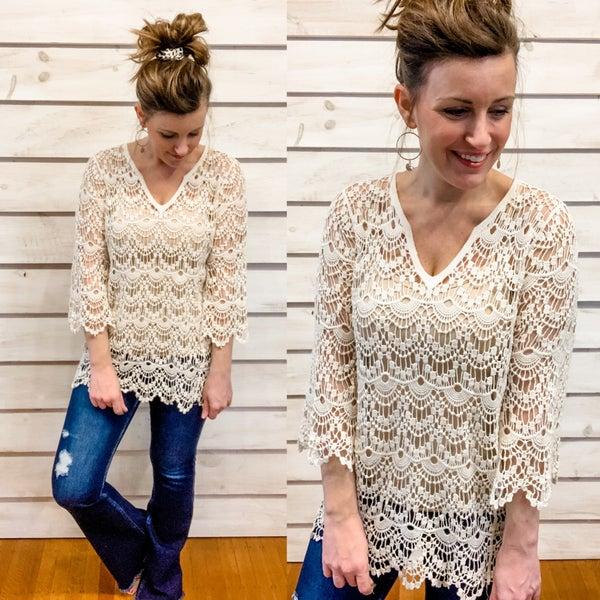 Natural Scalloped Open Crochet Top