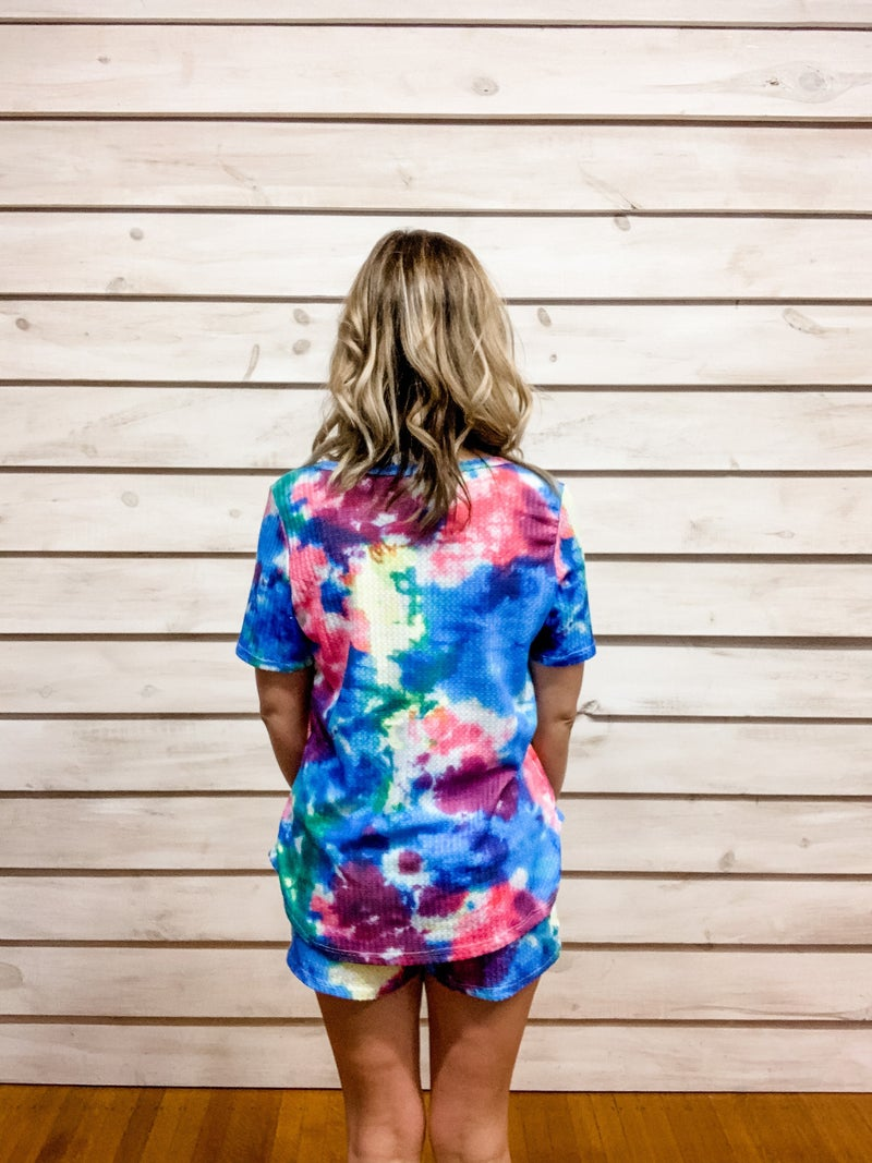 Blue Tie Dye Print Two Piece Set