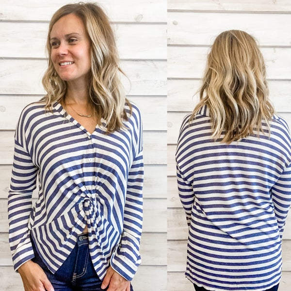 Navy Dropped Shoulder Striped Top *Final Sale*