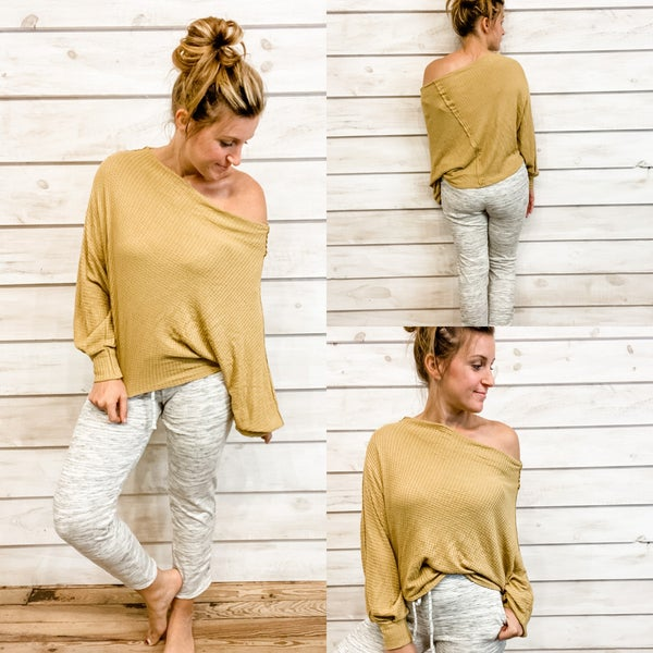 Mustard Waffle Knit Top *Final Sale*