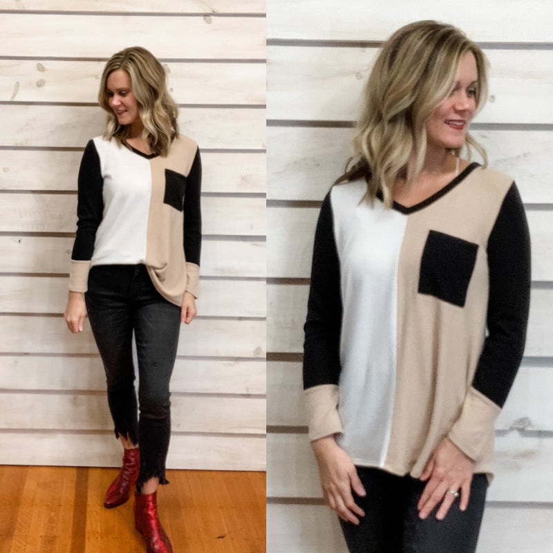Taupe and Black Color Block Super Soft Top with Pocket