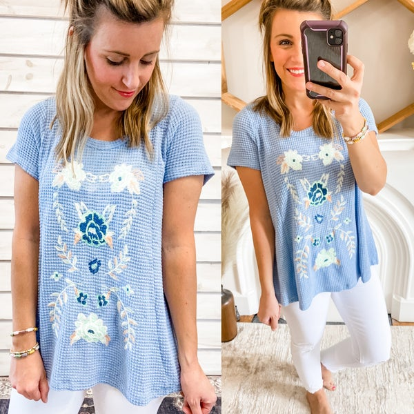 Sky Blue Waffle Knit Top with Embroidery