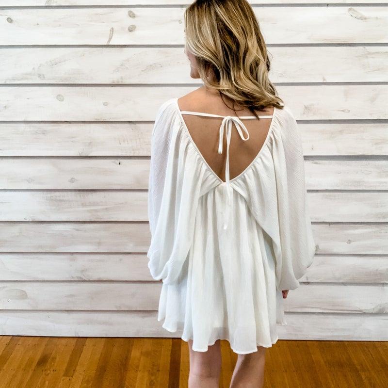 Ivory Boho Kimono Sleeve Dress
