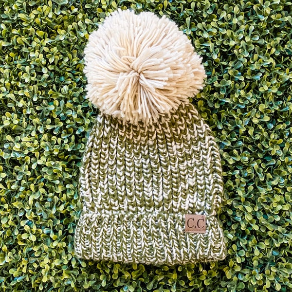 Olive and Cream Large Pom Beanie