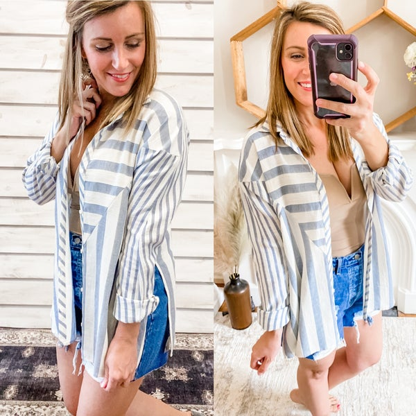 Blue and Cream Contrasting Stripe Button Up