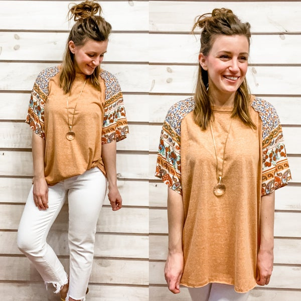 Melon Tee with Printed Sleeves