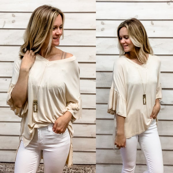 Taupe Ruffle Bell Sleeve Relaxed Top