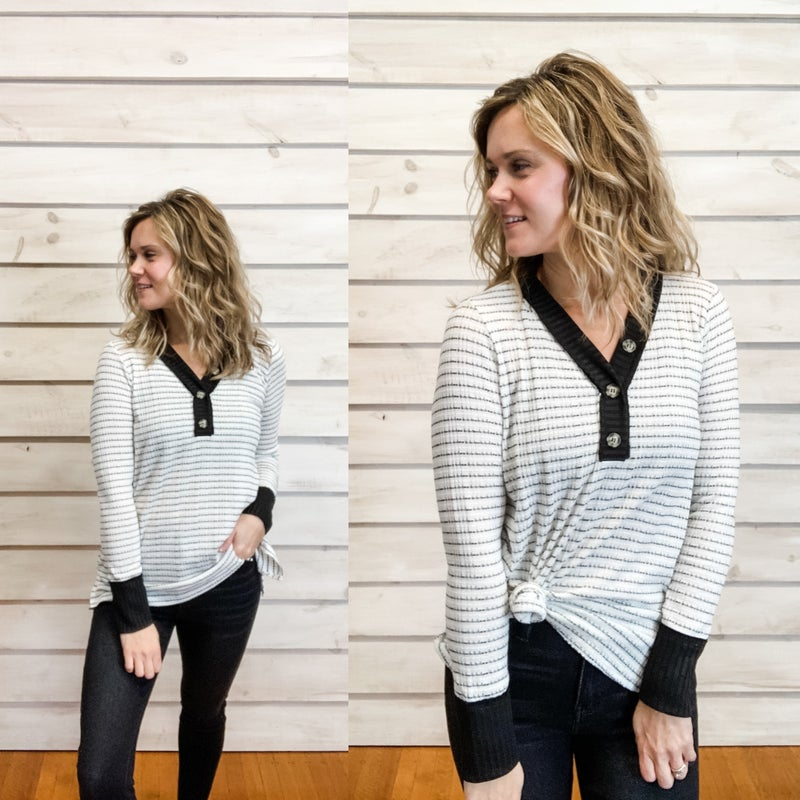 Black and White Striped Tunic with Buttons