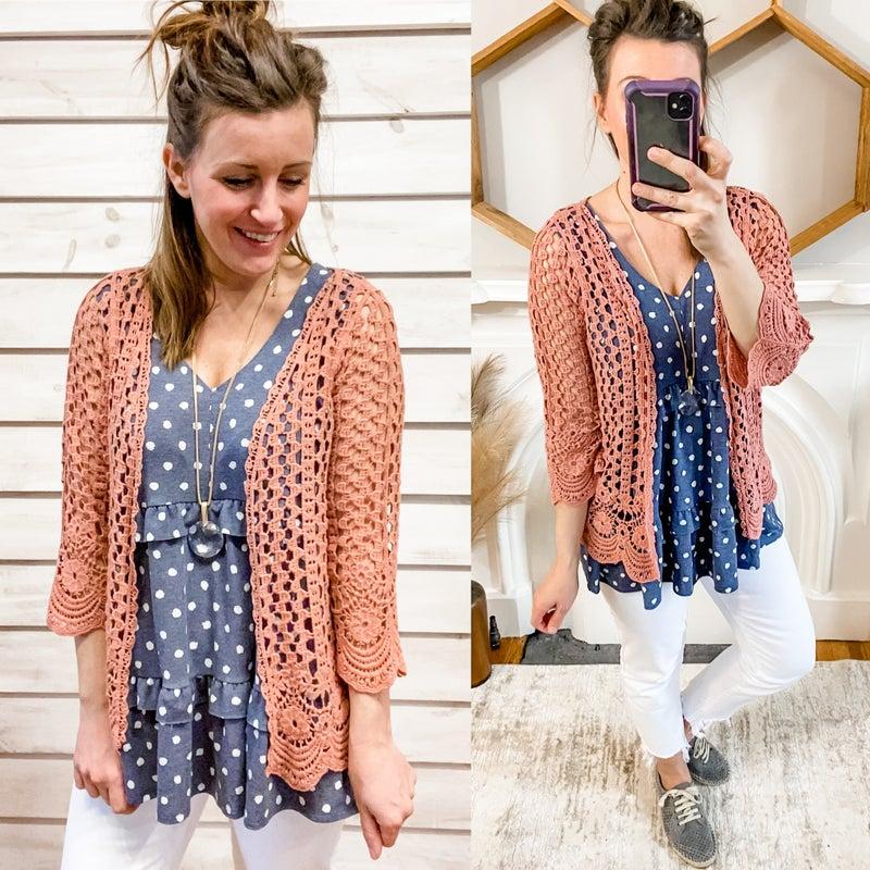 Marsala Open Crochet Kimono