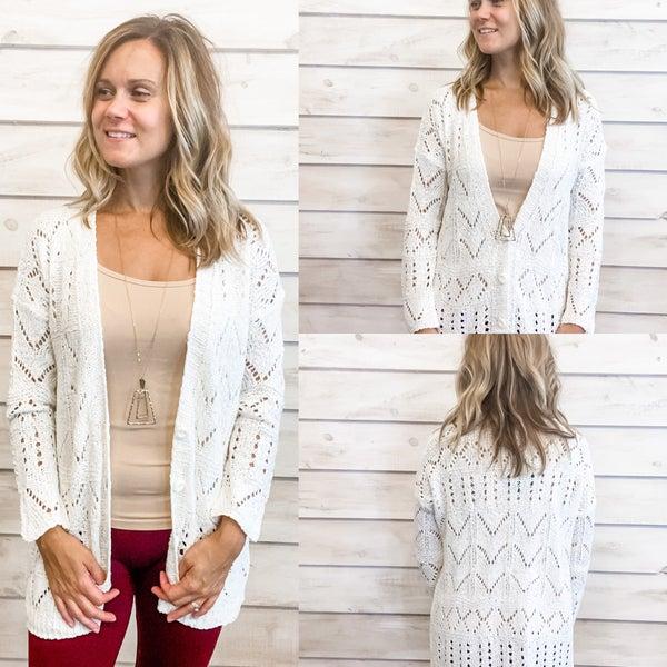 White Open Knit Cardigan *Final Sale*