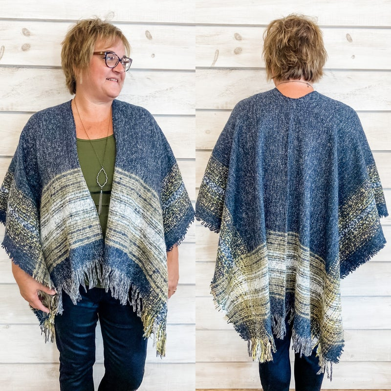 Fringe Detail Multi Color Poncho