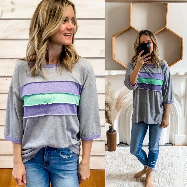 Grey Color Block T-Shirt