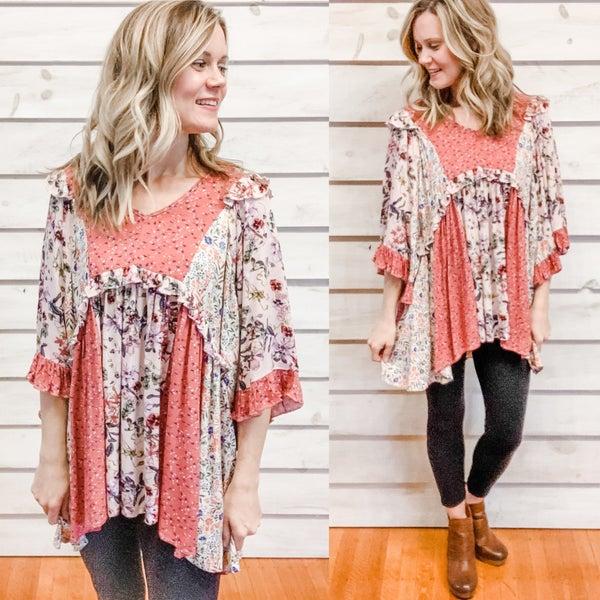 Blush Boho Floral Tunic Dress