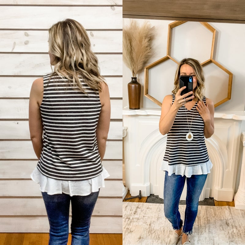 Navy Striped Ruffle Top