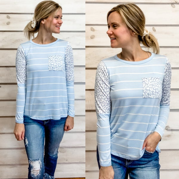 Baby Blue Stripe Mixed Print Top