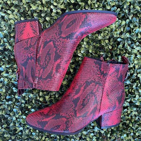 Red Printed Booties