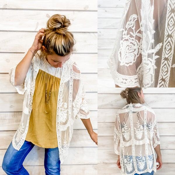 Cream Lace and Crochet Kimono