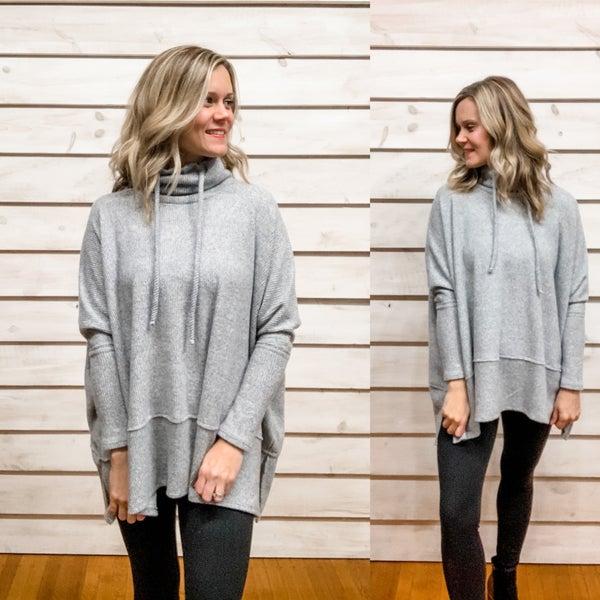 Grey Super Soft Oversized Tunic Sweater