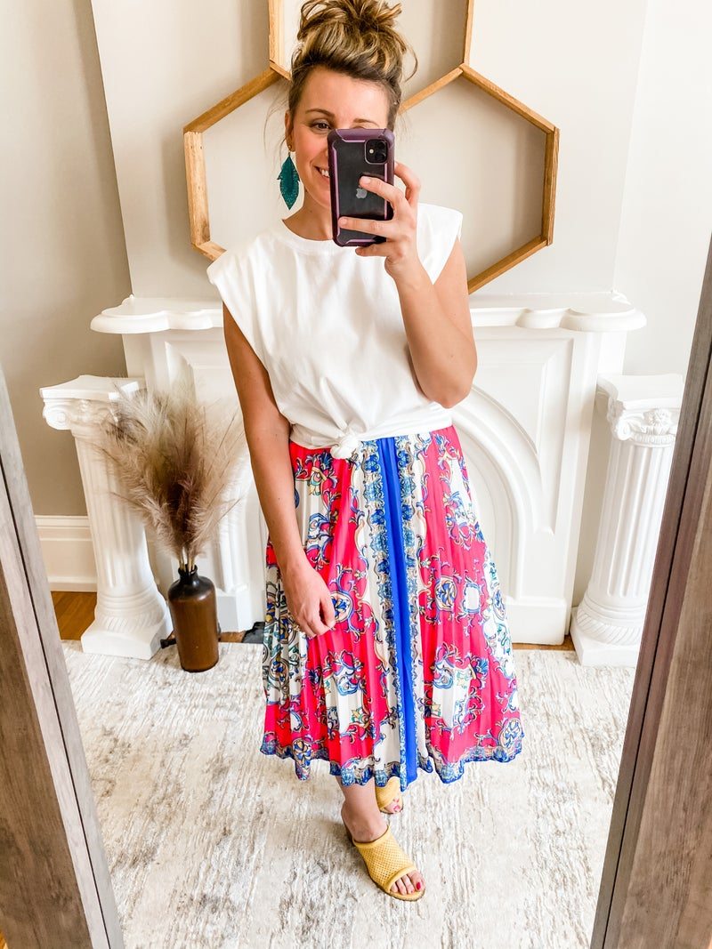 Hot Pink Accordion Skirt