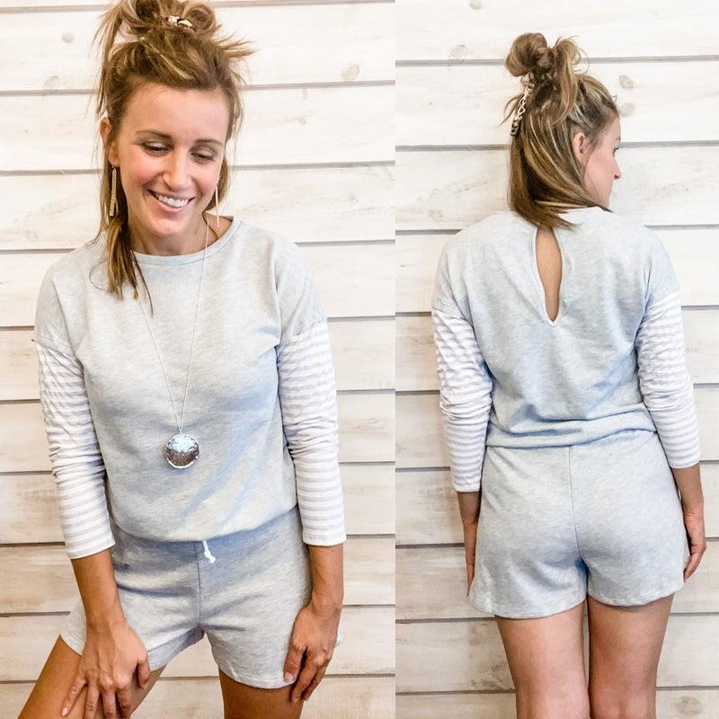 Grey Contrast Stripes Romper *Final Sale*
