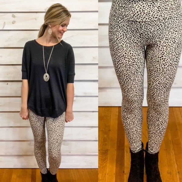 Taupe Animal Print Rib Textured Leggings