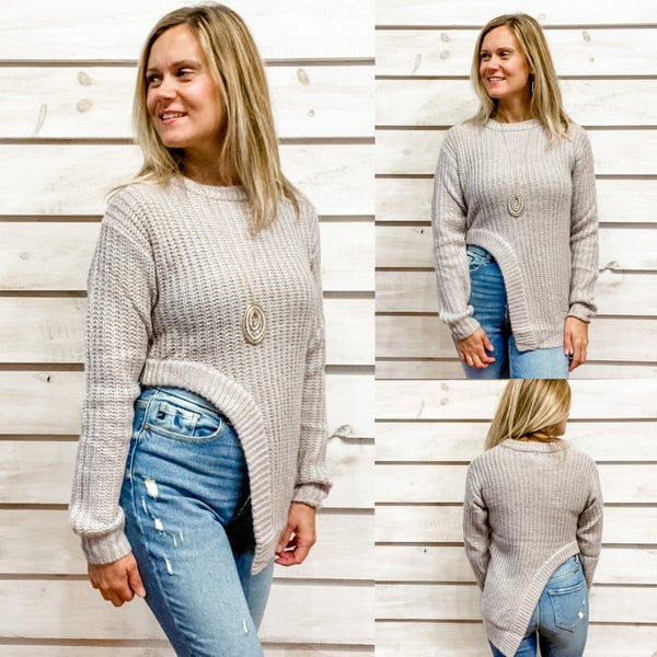 Taupe Asymetrical Sweater *Final Sale*