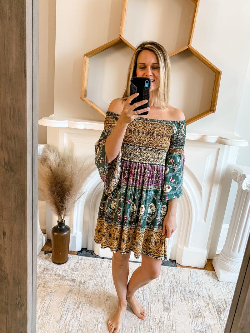 Boho Print Smocked Dress