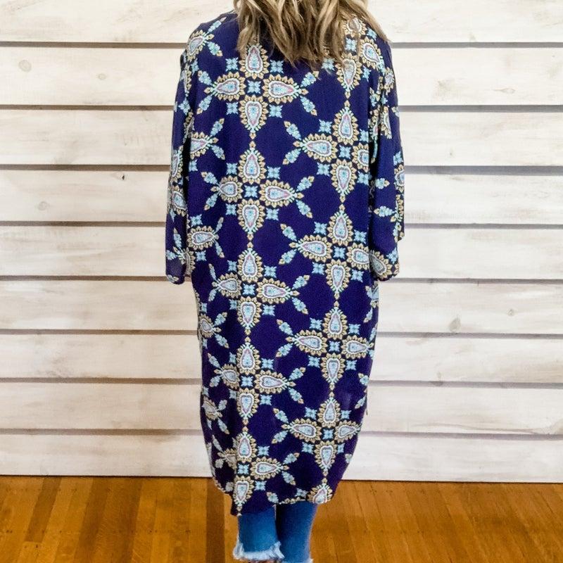 Navy Paisley Print Kimono