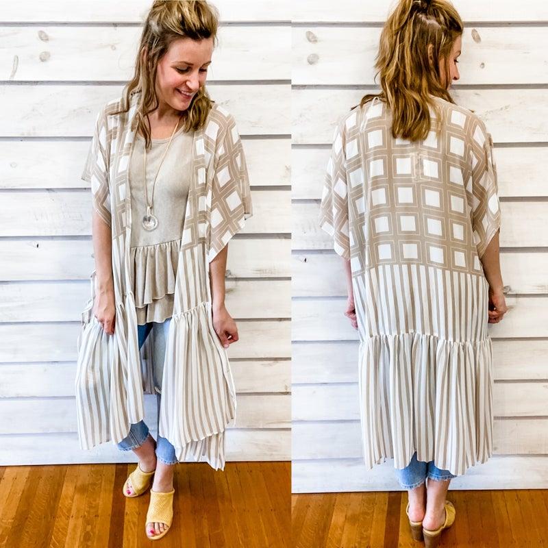 Taupe and Cream Flowy Kimono