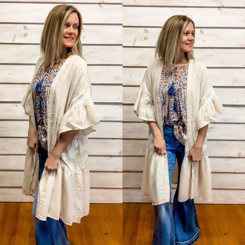Cream Tiered Contrasting Lace Kimono