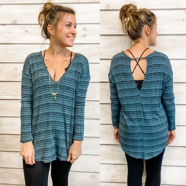 Classic Blue and Black Striped Tunic *Final Sale*