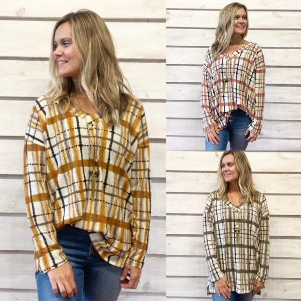 Plaid V Neck Tunic top *Final Sale*