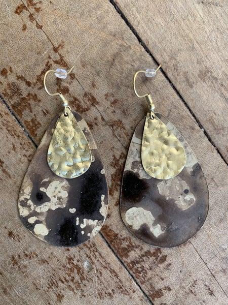 Brown and Gold Teardrop Earrings