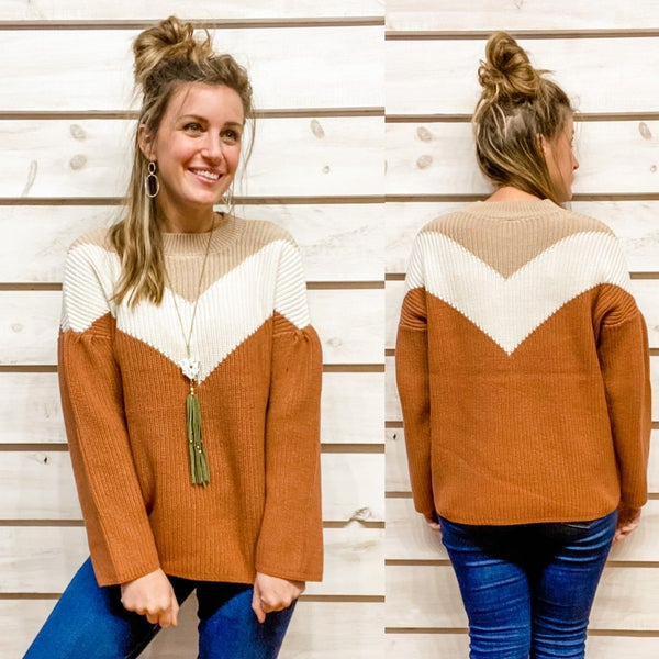 Neutral Clay Chevron Sweater