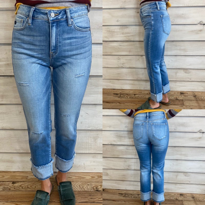 Distressed High Rise Straight Leg Jeans with Faux Cuff