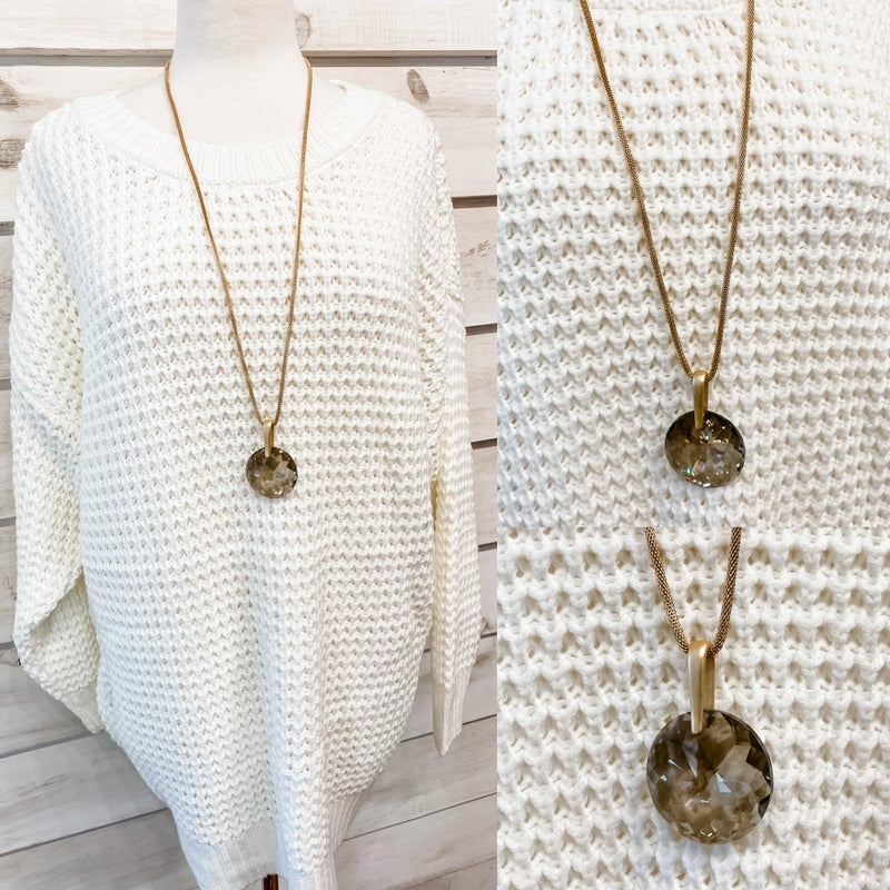 Gold Necklace with Grey Stone Pendant