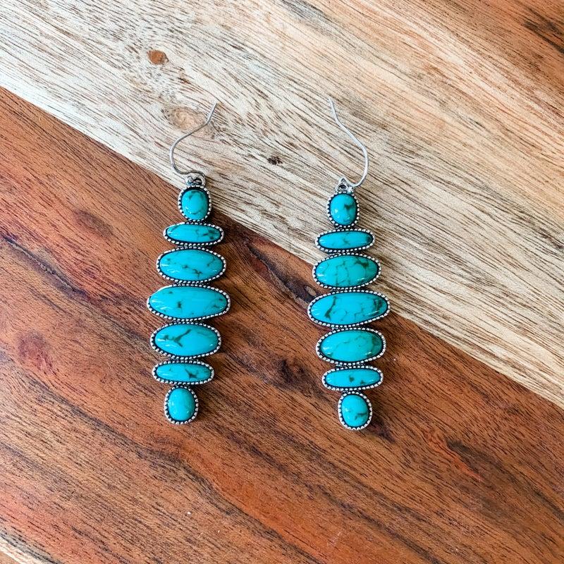 Turquoise Dangle Charm Boho Earrings