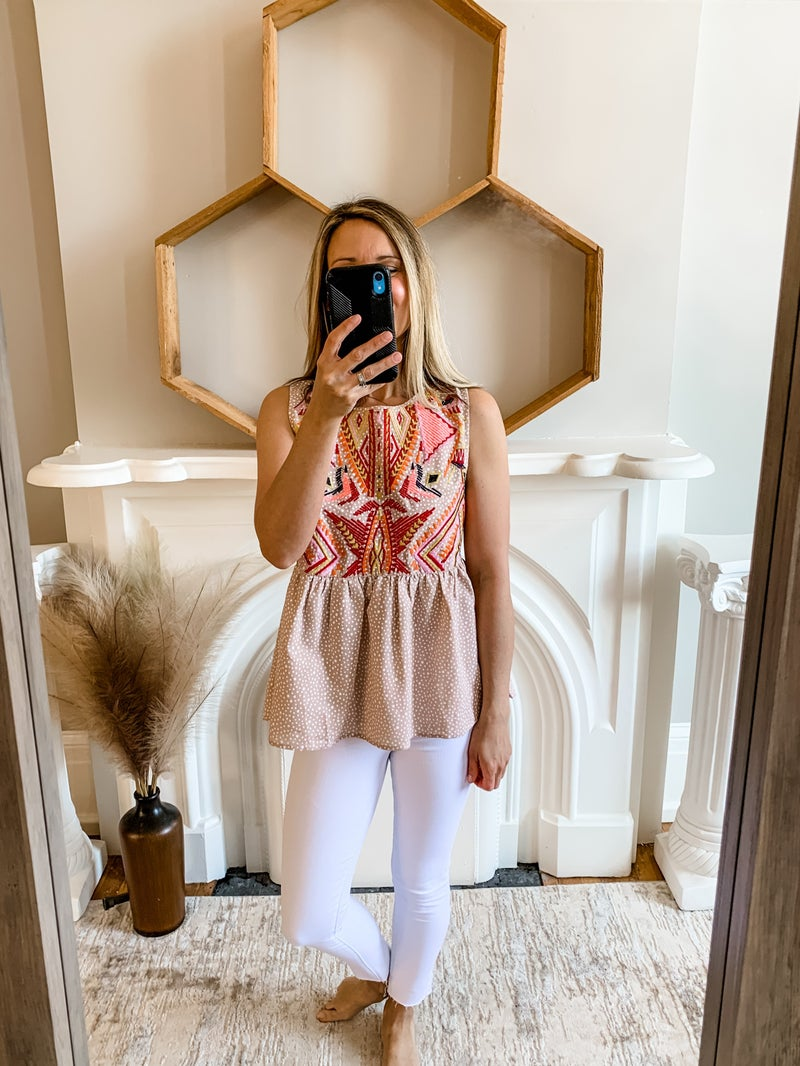 Latte Embroidery Print Babydoll Top
