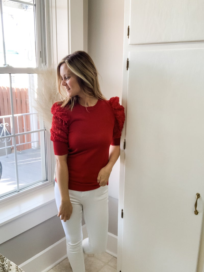 Red Top with Puff Floral Sleeves