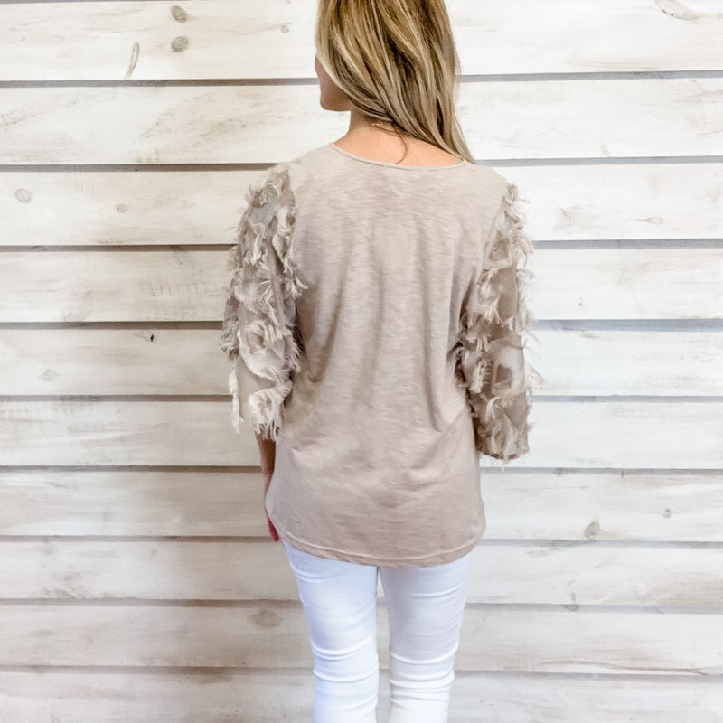 Taupe Feather Sleeve Top