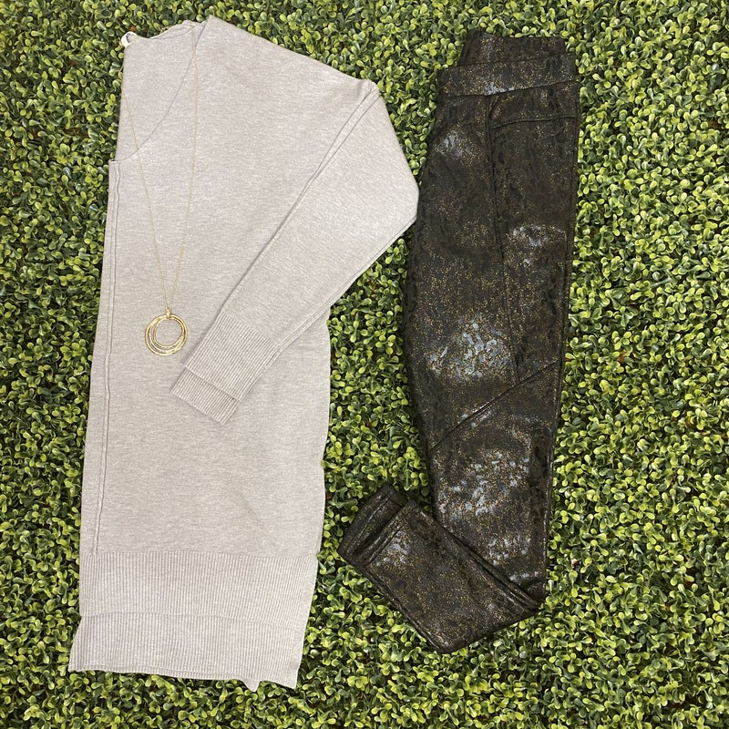 Shimmer Printed Leggings with Fleece Lining *Final Sale*