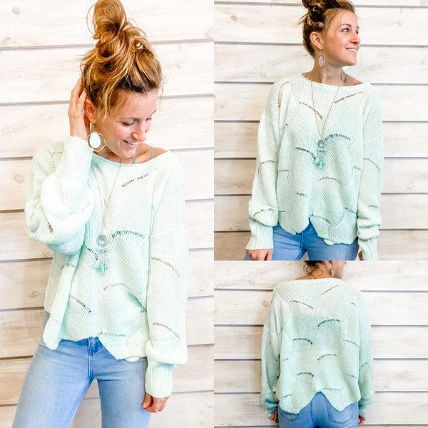 Mint Scalloped Sweater *Final Sale*