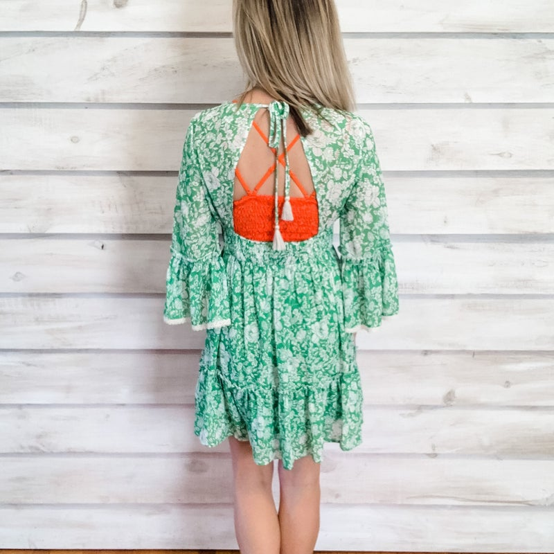 Green Print Tie Back Dress