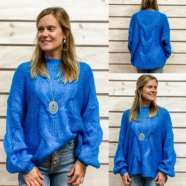 Blue Boat Neck Open Knit Sweater