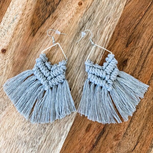 Grey Macrame Boho Earrings