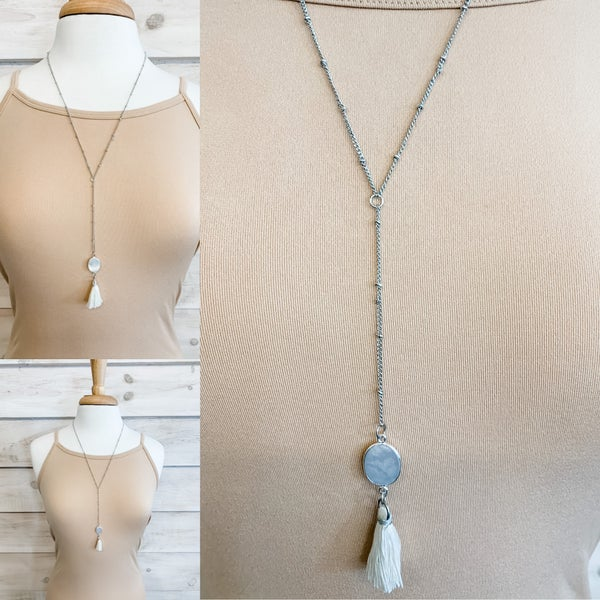 Silver and White Tassel Detail Stone Necklace
